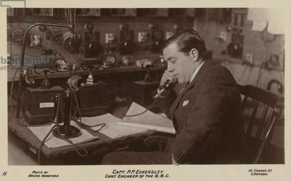 Captain Peter Eckersley, Chief Engineer of the BBC (b/w photo)