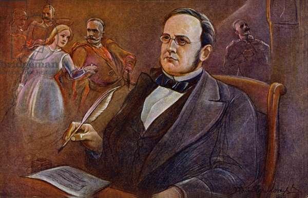 Stanislaw Moniuszko, Polish and Belarusian composer (colour litho)