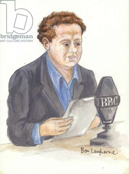 Welsh poet Dylan Thomas at the microphone (unknown)