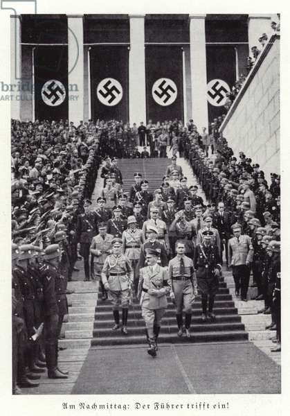 Hitler and other senior Nazis at the Nuremberg Rally, 1936 (b/w photo)