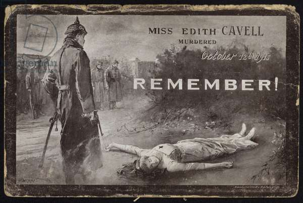 Murder of Edith Cavell, World War I, 12 October 1915 (litho)