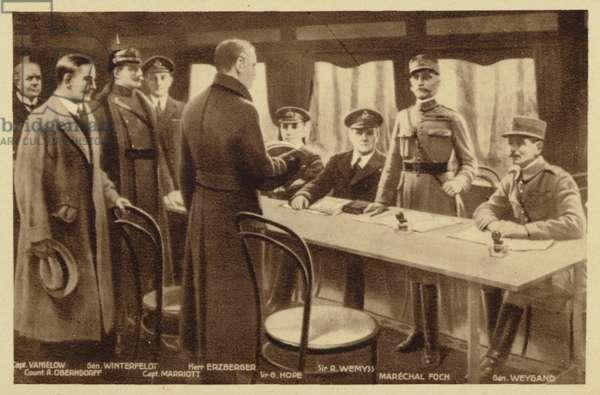 Gathering to sign the Armistice treaty (litho)