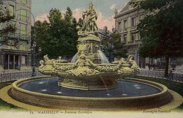 Estrangin Fountain, Marseilles, France (colour photo)