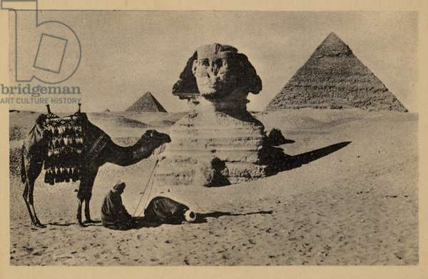 Prayer at the Great Sphinx of Giza, Egypt (b/w photo)