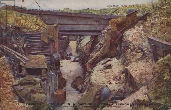British look-out in a captured trench at Ovillers-la-Boisselle, Battle of the Somme, World War I, 1916 (coloured photo)