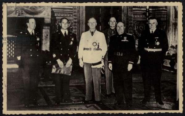 Joachim von Ribbentrop and Benito Mussolini in Rome in 1940 (b/w photo)