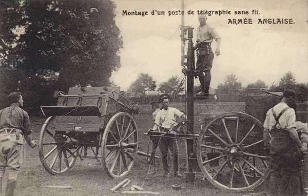 British soldiers setting up a wireless telegraphy station, World War I (b/w photo)