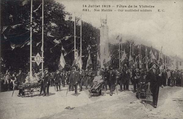 Wounded French soldiers marching in the Paris Victory Parade, 1919 (b/w photo)