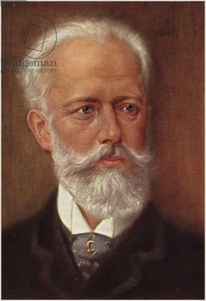 Portrait of Pyotr Ilyich Tchaikovsky (colour litho)