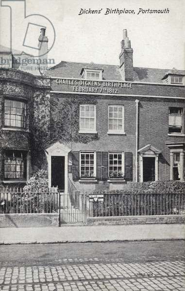 Charles Dickens' birthplace, Portsmouth (b/w photo)