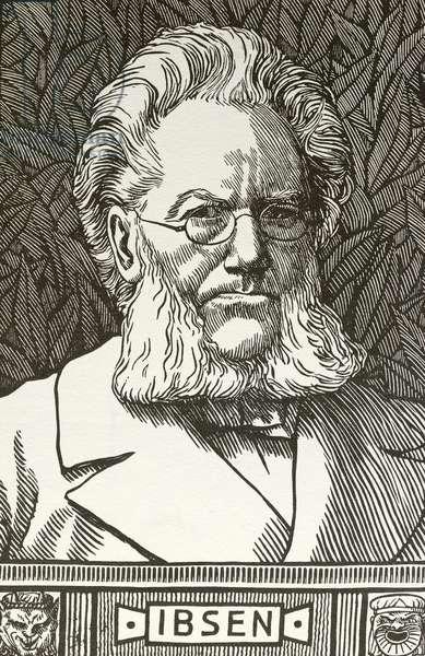 Henrik Ibsen, Norwegian playwright (woodcut)
