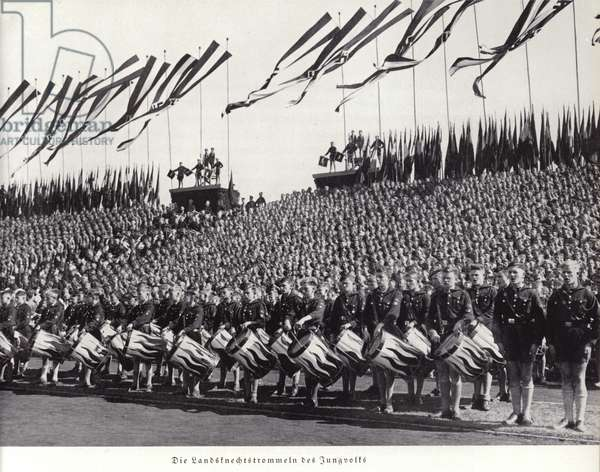 Drummers of the Deutsches Jungvolk, Nuremberg Rally, 1936 (b/w photo)