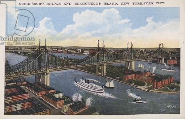 Queensboro Bridge and Blackwell's Island, New York City, USA (colour litho)