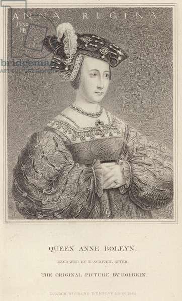 Queen Anne Boleyn, portrait after Holbein (engraving)