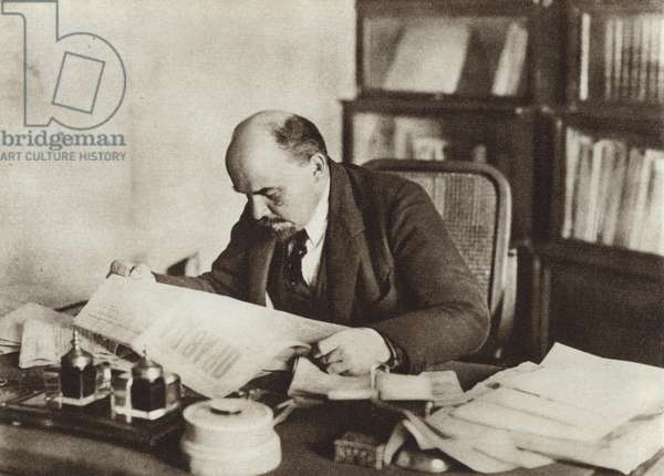 Lenin in his study in the Kremlin, Moscow, October 1918 (b/w photo)