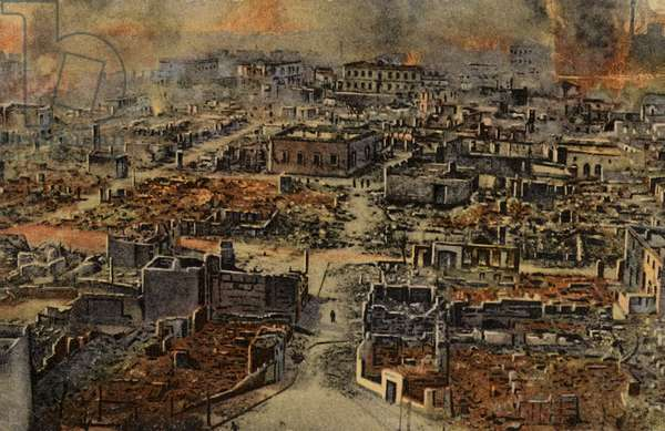 View of the burned district of Salonika, Greece, World War I, 1917 (coloured photo)