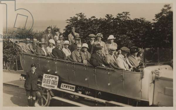 Excursion by charabanc in North Devon, 1921 (b/w photo)