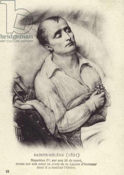 Napoleon on his deathbed (litho)