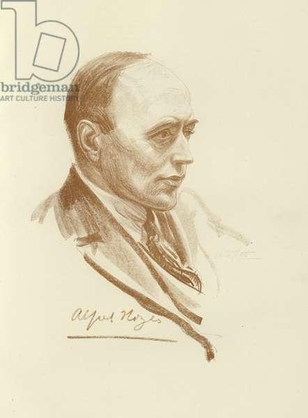 Alfred Noyes, English poet (litho)