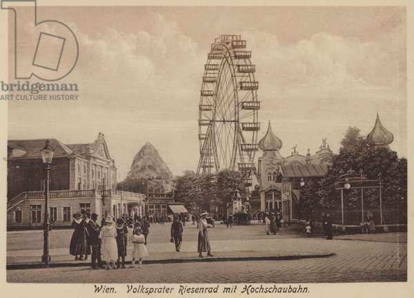 Wien, Volksprater Riesenrad mit Hochschaubahn (b/w photo)
