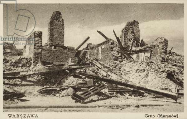 Ruins of the Warsaw Ghetto, Poland, World War II, 1943 (b/w photo)