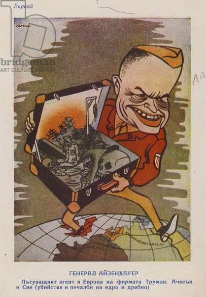 Hungarian cartoon depicting General Eisenhower as a salesman of death, offering it in the form of the Marshall Plan, c1947-c1953 (colour litho)