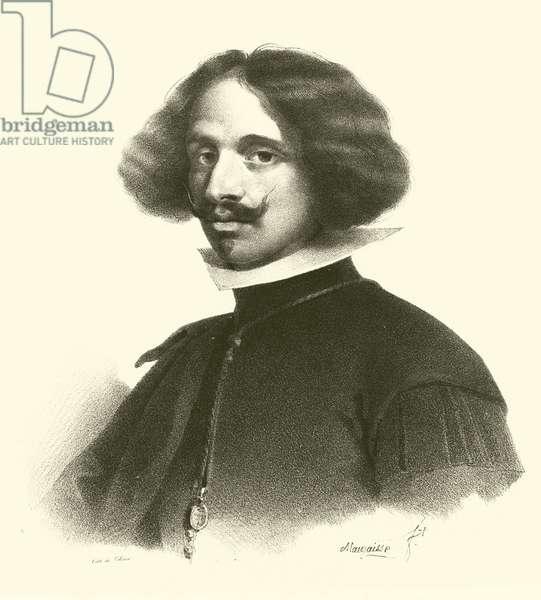 Diego Rodriguez de Silva y Velazquez, portrait (engraving)