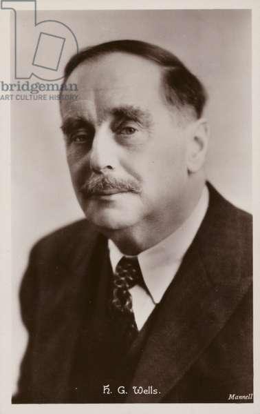 H G Wells (1866-1946), English novelist (b/w photo)