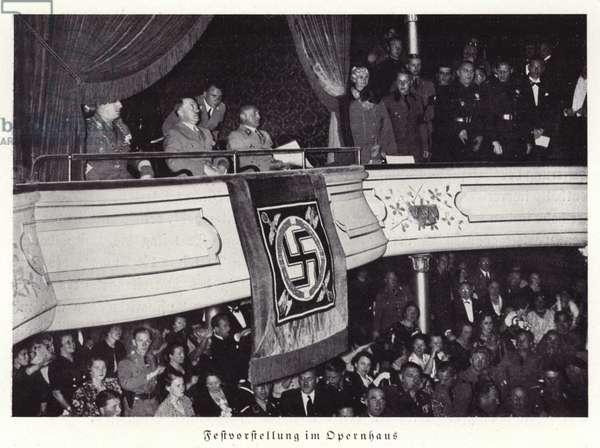 Hitler attending a festival performance in Nuremberg Opera House, 1936 (b/w photo)