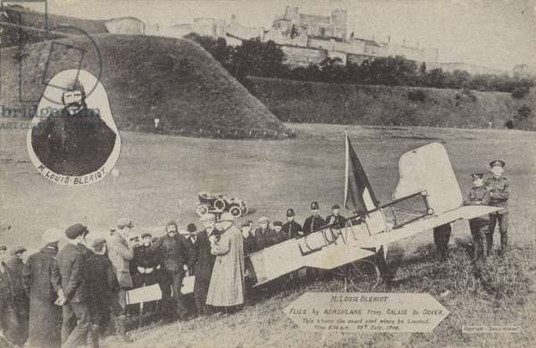 Louis Bleriot with his aircraft at Dover after flying across the English Channel, 15 July 1909 (b/w photo)