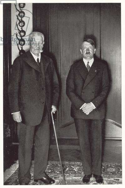 President Paul von Hindenburg and Reich Chancellor Adolf Hitler, 1933 (b/w photo)