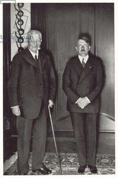 President Paul von Hindenburg and Reich Chancellor Adolf Hitler, 1933 (b/w photo)