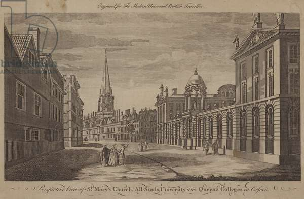 St Mary's Church, All Souls, University and Queen's Colleges, Oxford (engraving)