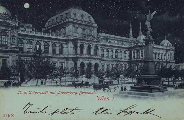 Postcard depicting the Liebenberg Monument and the University of Vienna (b/w photo)