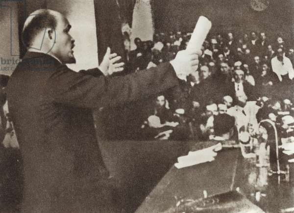 Lenin speaks at the Second Congress of the Communist International, Petrograd, 19 July 1920 (b/w photo)