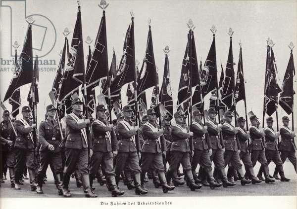 Flags of the Reichsarbeitsdienst (Reich Labour Service), Nuremberg Rally, 1936 (b/w photo)