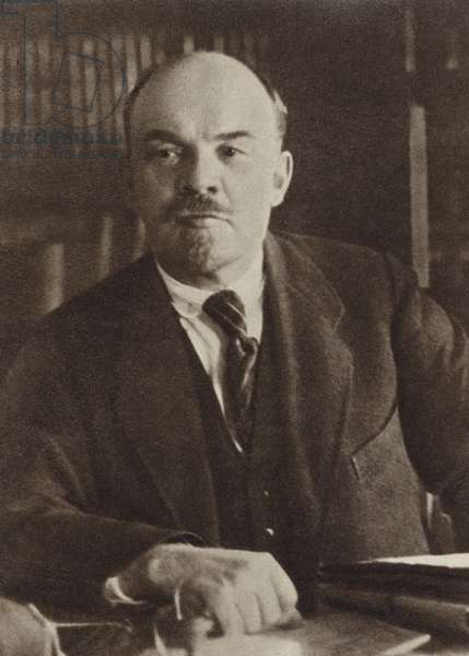 Lenin in his study in the Kremlin, Moscow, 4 October 1922 (b/w photo)