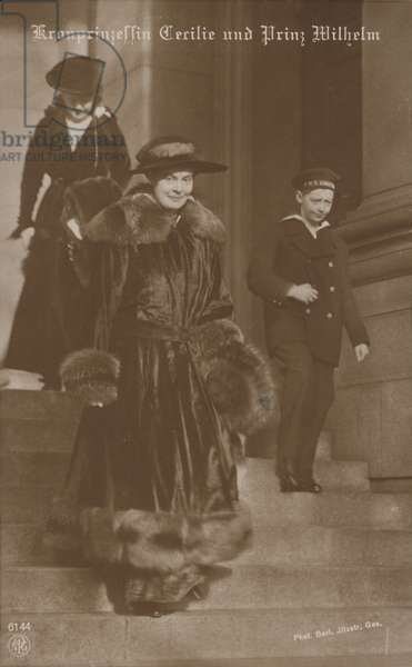Crown Princess Cerilie and Prince Wilhelm (b/w photo)