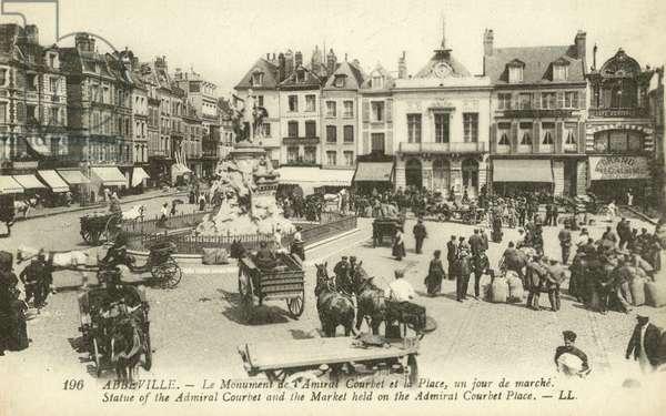 Market on the Place de l'amiral Courbet, Abbeville (b/w photo)