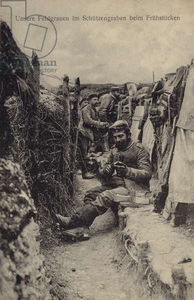German soldiers having breakfast in the trenches, World War I, 1914-1918 (b/w photo)