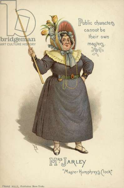 Mrs Jarley, from The Old Curiosity Shop, by Charles Dickens (colour litho)