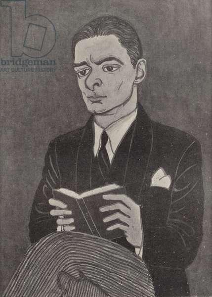 T S Eliot, American-born British poet (litho)