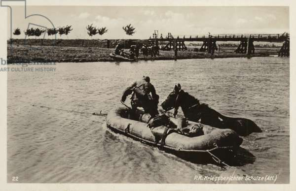 German soldiers crossing a river using inflatable boats, World War II (b/w photo)