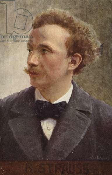 Portrait of Richard Strauss (colour litho)