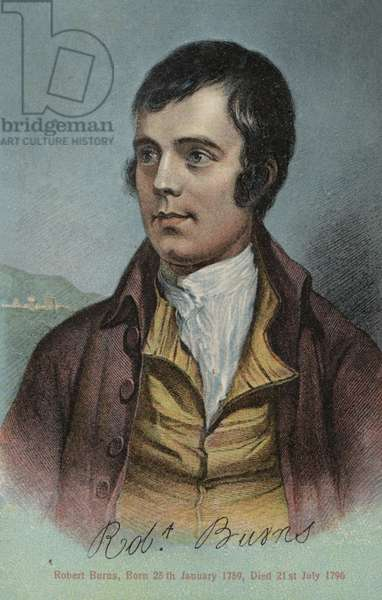 Robert Burns, Scottish poet (colour litho)