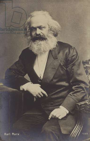 Karl Marx (1818-1883), German philosopher, economist, historian and political theorist (b/w photo)