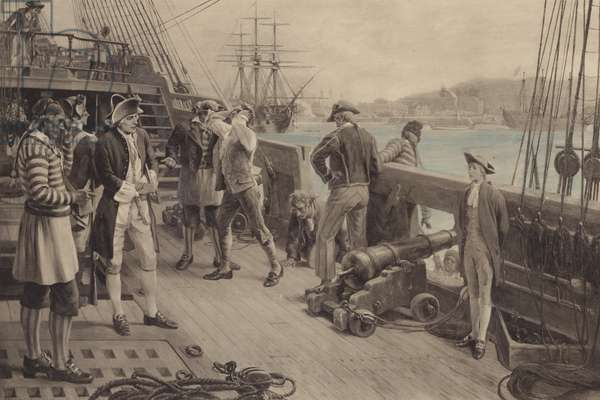 Nelson's First Footing in the Navy, Chatham (colour litho)