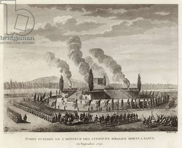 Funeral in honor citizen soldiers killed in Nancy (engraving)