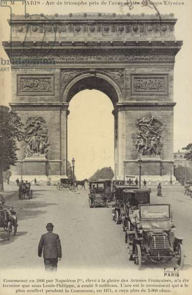 Postcard depicting the Arc de Triomphe on the Champs-Elysees (b/w photo)