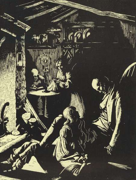 Scene from Wuthering Heights, by Emily Bronte (woodcut)